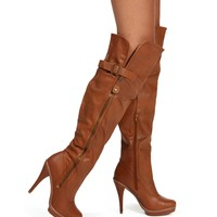 Cognac Knee High Heel Boot