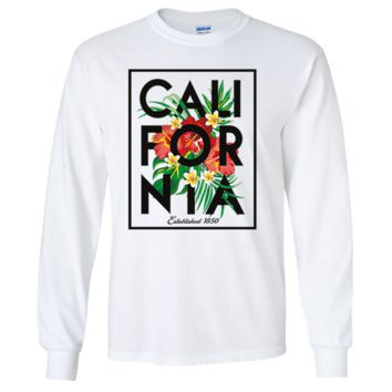 Cali Tropical Flowers Black Print Long Sleeve Shirt