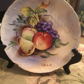 Porcelain T. Shibuta Fruit Plate, Hand Painted Fruit Plate, 8 inch Signed Plate, Collector's Plate, Apples and Grapes, Peaches and Pears