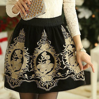 Black Vintage Embroidery Mini Skirt