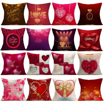 1PC New Love Cotton Pillow Creative Pattern Gift Pillow Case Throw Pillowcase Cafe Cushion Pillow for Valentine's Day USPS