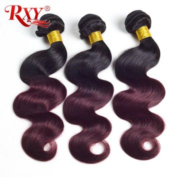Rxy Ombre Brazilian Hair Weave Bundles Body Wave 1b Burgundy Two Tone Human Hair Bundles Non Remy Hair Extensions Weaving 1b 99j