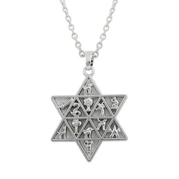 Jewish Star of David Pendant 12 Tribes of Israel Ethnic Men Necklace Women Jewelry Collar