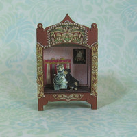 Miniature Theater with Romantic Cats Vignette