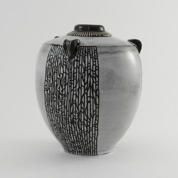 Handmade pottery, ceramic vase, Dark brown and white stoneware vase with intricate carving, small vase, handmade ceramic vase