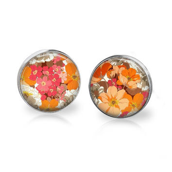 Pink and Orange Summer Wildflower Studs Post Earrings Floral Boho Hippie Spring 2014 Trends Floral Background Pattern Print Jewelry Bouquet
