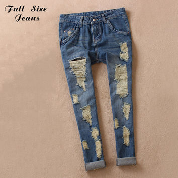 Boyfriend Ripped Jeans 2016 Summer Fashion Loose Ripped Denim Jeans For Woman Plus Size Harem Jeans For Ladies 25 54 6XL 7XL 4XL