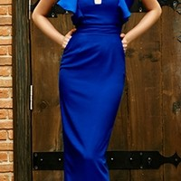 Take Flight Royal Blue Sheer Mesh Cut Out V Neck Short Ruffle Sleeve Maxi Dress Gown