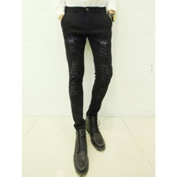 Trendy Bleach Wash Zipper Fly Personality Patch Embellished Slimming Narrow Feet Men's Jeans