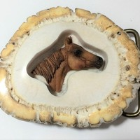 Horse Elk Horn Belt Buckle, Artisan Made, Inset Brown Horse Head, Great Equestrian Gift, Unisex Fashion Accessory 718m