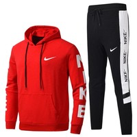 NIKE 2018 autumn and winter new men's sportswear two-piece suit Red