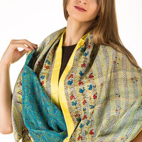 Vintage Reversible Kantha silk scarf hand stitched brand new one-of-a-kind artwork with silk border and mirror tassels- Free shipping in US