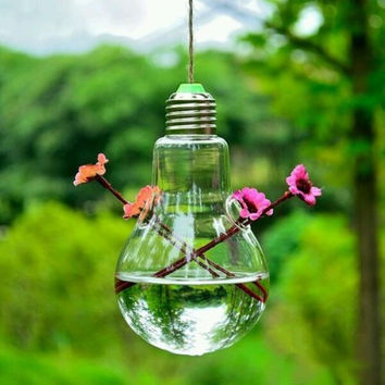 2016 Hot Clear Light Bulb Shape Glass Hanging Vase Bottle Terrarium Hydroponic Container Flower DIY Home Wedding Decor