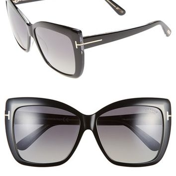 Women's Tom Ford 'Irina' 59mm Polarized Sunglasses - Black Crystal/ Smoke Polarized