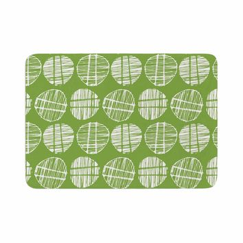 "Gill Eggleston ""Sketched Pods Green"" Green White Abstract Modern Digital Vector Memory Foam Bath Mat"