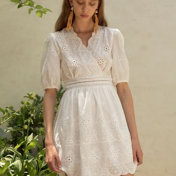 BAILEY WHITE SCALLOPED DRESS