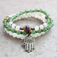 Calm, good luck and healing, White agate and aventurine mala bracelet stack with Hamsa hand