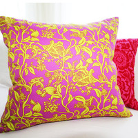"Decorative Pillow Cover in Purple & Lime 18x18 Pillow Slip Cover ""Color Me Crazy"" Collection"