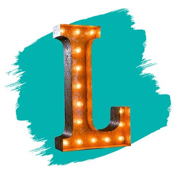 """24"""" Letter L Lighted Vintage Marquee Letters (Rustic)"""