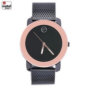Jewelry Kay style Men's Fashion Black & Rose Gold Plated Luxury Metal Mesh Band Watches WM 8152 HE