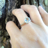 NATURAL AQUAMARINE RING 1.5ct Sterling Silver Filigree Size 5.5 Engagement Bridal March Pisces