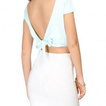 V-neck Back Drawstring Crop Top