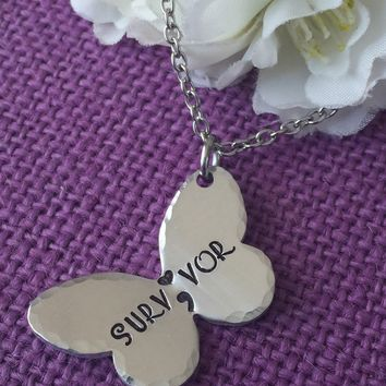 Semicolon Necklace - Semicolon Jewelry - Survivor - Butterfly - Suicide Awareness - Depression - Keep Fighting - Life