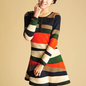 Womens Sweater Dress - Mini Dress - Cute Long Sleeve Dress - Colorblock Dress - Orange, Hunter Green, Navy, Cream - Mini Sweater Dress (423)