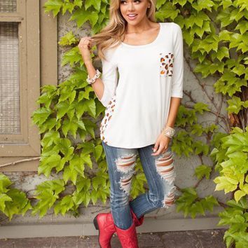 White Leopard Print Back Long-Sleeve Shirt