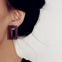 Square Shaped Wooden Earrings