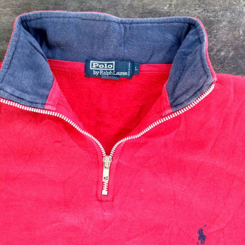 Polo Ralph Lauren sweatshirt small pony Logo vintage half zip jumper