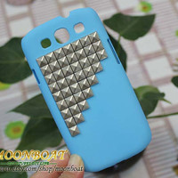 Cell Phone Little Blue Hard Case Cover With Silvery Stud Pyramid For Samsung Galaxy S3 i9300 MB564