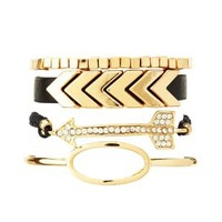 Arrow & Chevron Bracelets - 4 Pack by Charlotte Russe - Black