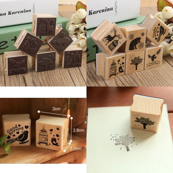 Romantic Design Best Price Cute DIY Retro Vintage Forest Animal Diary Album Scrapbook Wooden Rubber Stamp Good For Collection