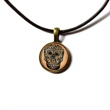 South American tribal pendant Mexican skull art jewelry Antique style Unisex n48