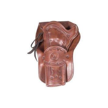 """Western Justice Hand-Tooled Leather Holster, 6"""", Mahogany, Left Hand"""