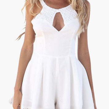 White Sleeveless with Keyhole and Floral Lace Accent Pleated Romper