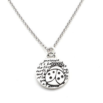 Kevin N Anna Ladybug (Presence quote) Sterling Silver Small Pendant Necklace