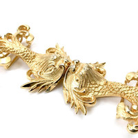 Alexis Kirk Dragon Fish Belt Buckle, Heavy Gold Tone Metal, Intricately Detailed Repousse, Texture Dimension, Signed, Vintage Gift for Her