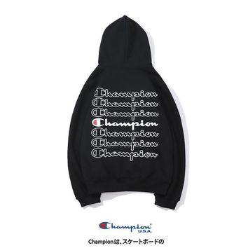 Champion Tide brand autumn and winter couple models sports back print hooded pullover sweater black
