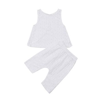 Newborn Toddler Baby Girls Kid Summer T-shirt Hollow Out Backless Vest Tops Pants Clothes Outfit White