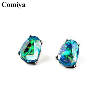 Comiya designer brand green crystal mosaic stud earrings for women cc boucle d'oreille femme statement accessories earring