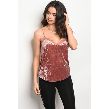 Ladies fashionsleeveless crushed velvet tank top featuring a v- neckline with lace trim