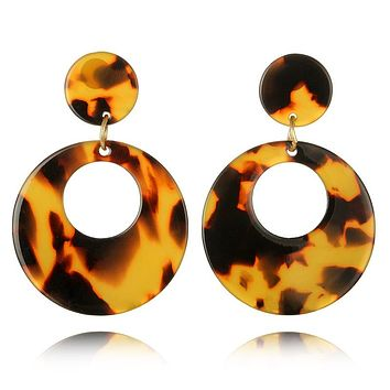 Retro Mod Acrylic Earrings Women Jewelry Round Big Tortoise Shell Statement Earrings