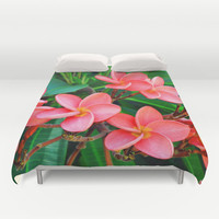 Red Orange Plumerias - Duvet Cover, Beach Flowers Bedding Accent, Surf Floral Tropical Style Bed Blanket Throw Cover. Twin Full Queen King