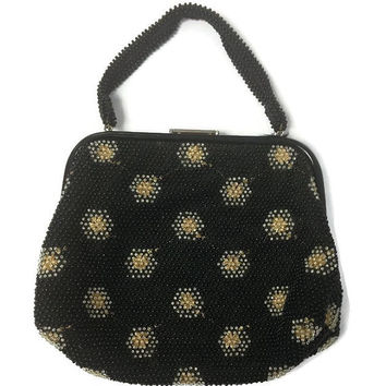 1950s Purse, Vintage Reversible Black and Gold Corde-Bead Purse
