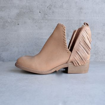 musse & cloud - angie leather fringe side slit bootie