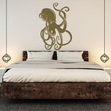 Large Octopus Vinyl Wall Decal Kraken Tentacles Ocean Sea Animals Nautical Bedroom Dorm Bathroom Marine Life Underwater World Decor C138