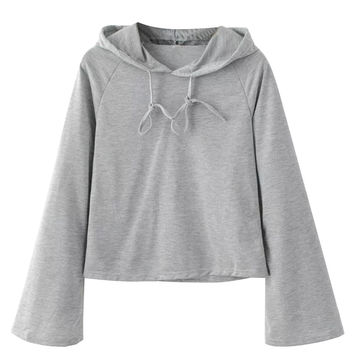 Light Grey Flare Sleeve Drawstring Hoodie