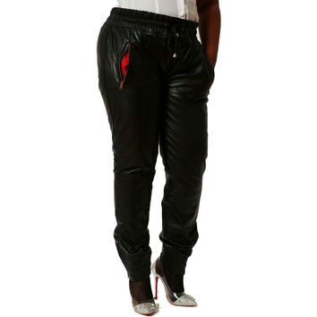 Womens Black Genuine Leather Sweat Pants / Joggers Relaxed Fit Smooth Nappa Sheepskin Red Liner